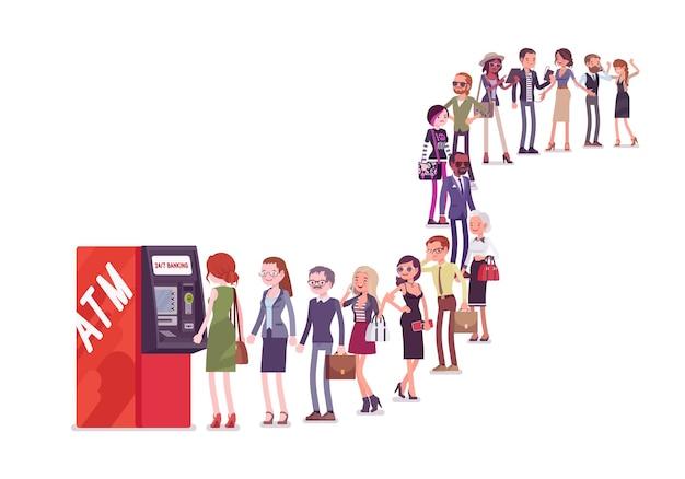 Grupo de pessoas na fila em uma fila perto do caixa eletrônico