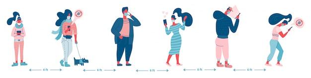 Grupo de pessoas na fila, proteção do conceito de distanciamento social, prevenção do coronavírus covid-19. ilustração plana.