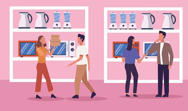 Grupo de pessoas na loja de eletrodomésticos em dia de compras