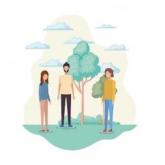 Grupo de pessoas na paisagem com árvores e plantas
