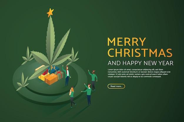 Grupo de pessoas natal maconha e caixa de presente. feliz natal e feliz ano novo. ilustrações vetoriais isométricas.