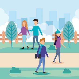 Grupo de pessoas no parque
