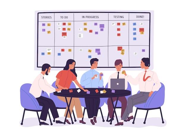 Grupo de pessoas ou trabalhadores de escritório sentados à mesa e discutindo questões de trabalho