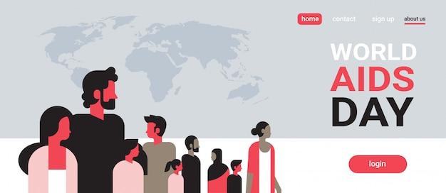 Grupo de pessoas para conscientização sobre o dia mundial da aids sobre o mapa mundial