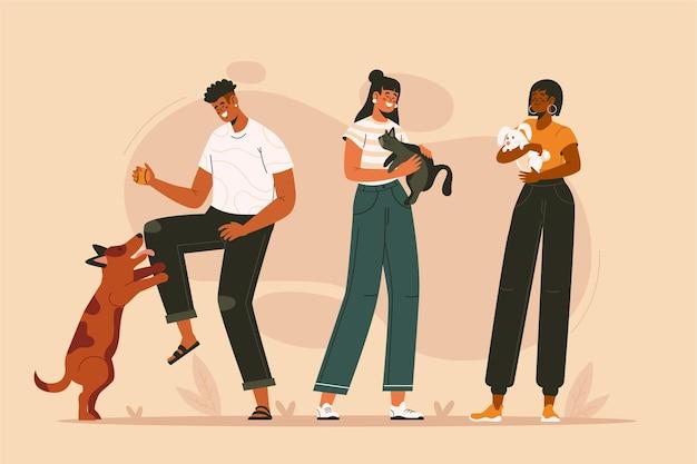 Grupo de pessoas planas com animais de estimação