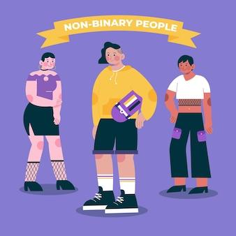 Grupo de pessoas planas orgânicas não binárias