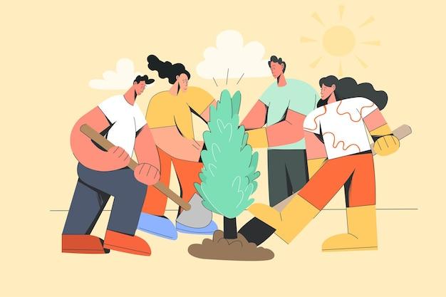 Grupo de pessoas plantando árvore juntos