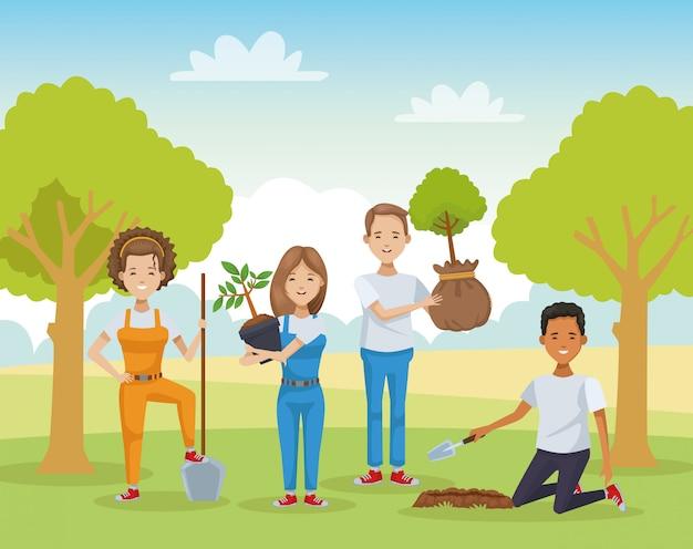 Grupo de pessoas plantando no campo