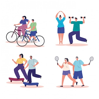 Grupo de pessoas praticando exercício avatar caracteres