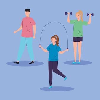 Grupo de pessoas praticando exercício