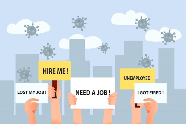 Grupo de pessoas precisa de um novo emprego devido a pandemia de vírus corona