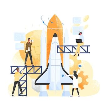 Grupo de pessoas preparando uma nave espacial, nave espacial, foguete ou ônibus espacial para uma viagem ou missão espacial