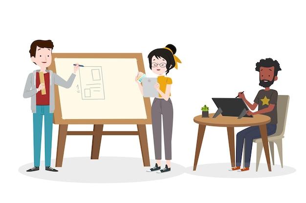 Grupo de pessoas projetando juntos