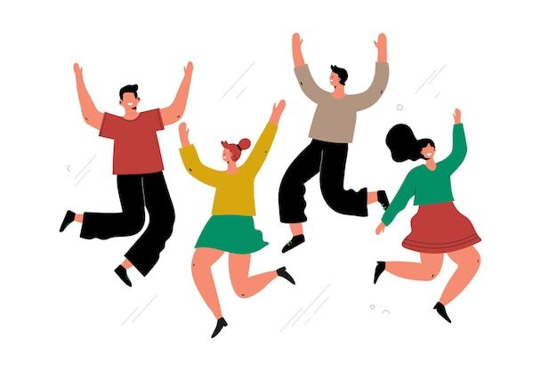 Grupo de pessoas pulando no dia da juventude