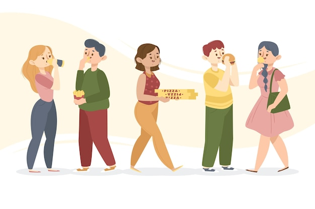 Grupo de pessoas que comem alimentos pouco saudáveis
