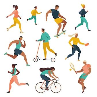 Grupo de pessoas que executam atividades esportivas no parque.