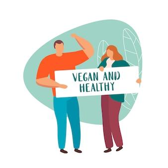 Grupo de pessoas que mantém o vegetariano do sinal e saudável isolado.