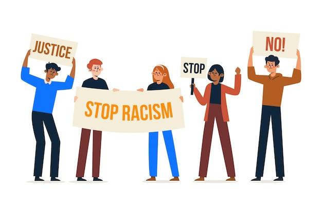 Grupo de pessoas que participam de um protesto contra o racismo