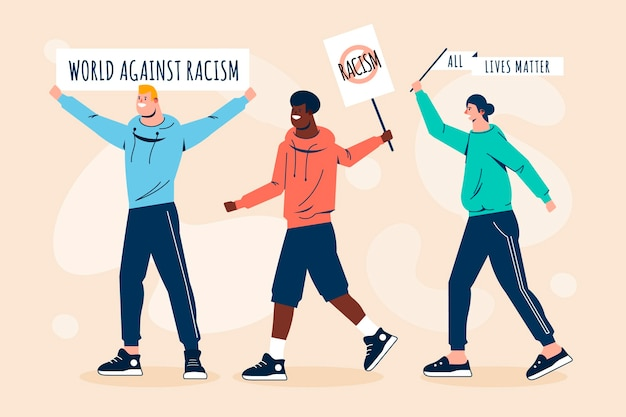 Grupo de pessoas que protestam contra o racismo