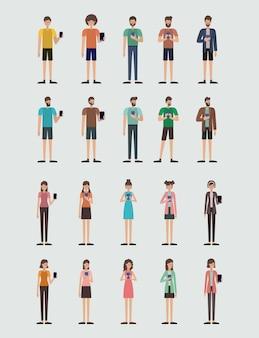 Grupo de pessoas que usam o projeto de ilustração vetorial smartphone