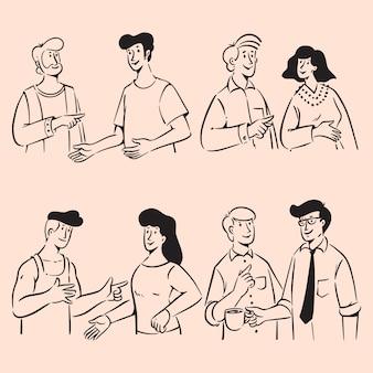 Grupo de pessoas rabiscando conversas