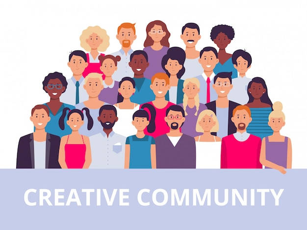 Grupo de pessoas. retrato da comunidade multiétnica, diversas pessoas adultas e ilustração de equipe de trabalhadores de escritório