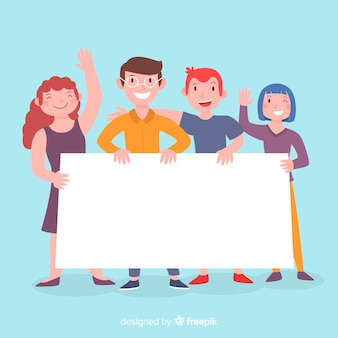 Grupo de pessoas segurando cartaz em branco