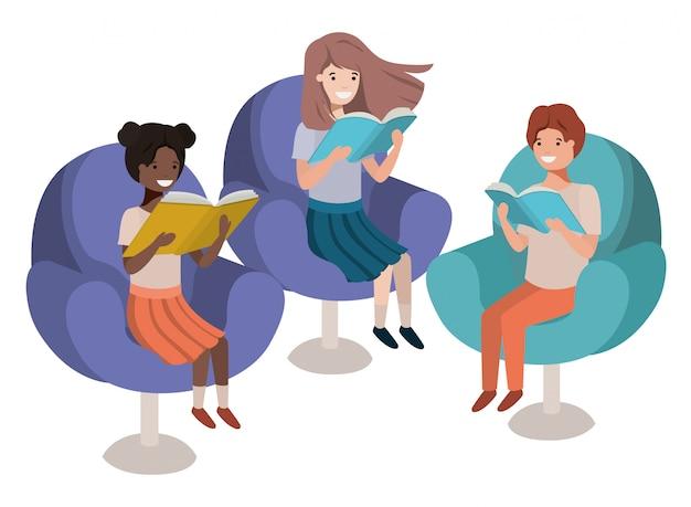 Grupo de pessoas sentadas no sofá com o personagem de avatar de livro