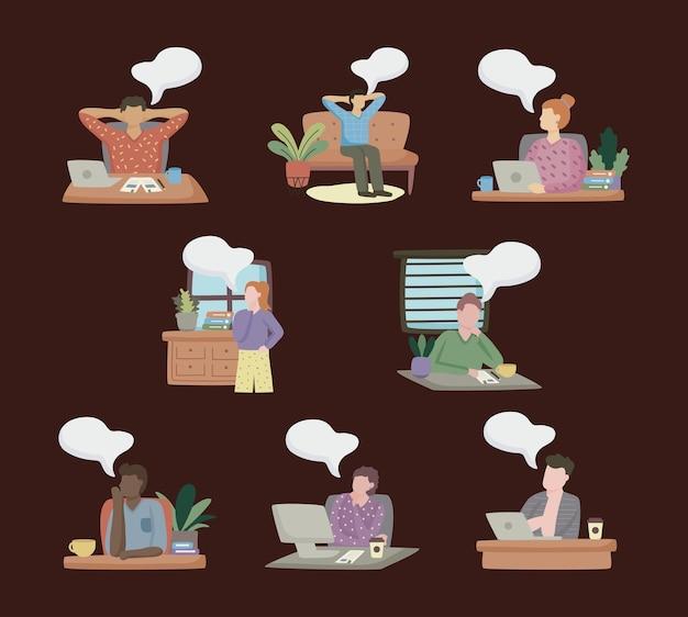 Grupo de pessoas sonhando na ilustração da cena do escritório
