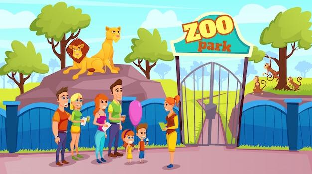 Grupo de pessoas sorridentes e guia no vetor de portão do zoológico
