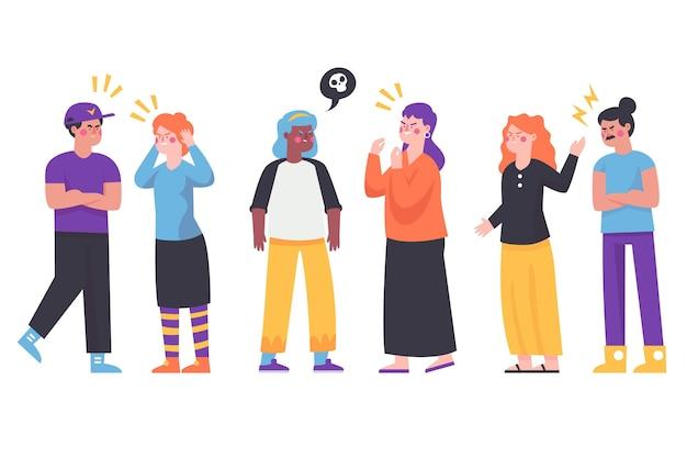 Grupo de pessoas tendo alguns conflitos ilustrados