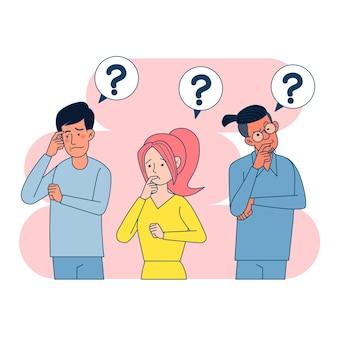 Grupo de pessoas tentando descobrir a solução do problema