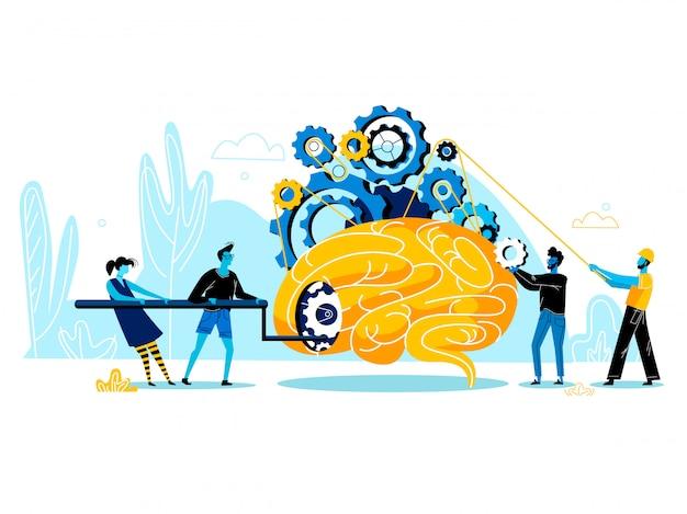 Grupo de pessoas tentando iniciar enorme cérebro humano com mecânico