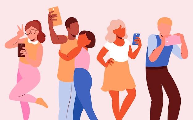 Grupo de pessoas tirando selfie com smartphone