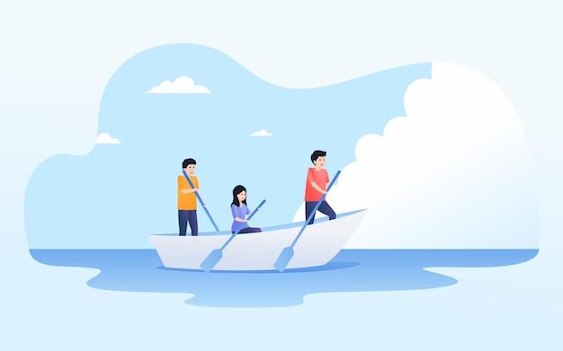 Grupo de pessoas trabalhando em equipe remando uma canoa