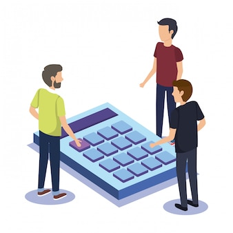 Grupo de pessoas trabalho em equipe com calculadora