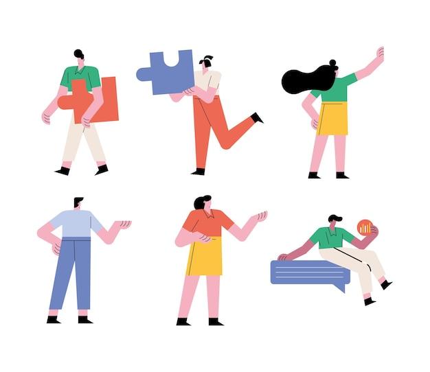 Grupo de pessoas, trabalho em equipe, ilustração de seis trabalhadores