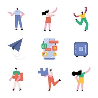 Grupo de pessoas, trabalho em equipe, seis personagens de trabalhadores e ilustração de ícones de conjunto