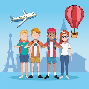 Grupo de pessoas turísticas com lugares famosos