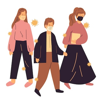 Grupo de pessoas usam máscara. pandemia de coronavírus. transmissão de doenças