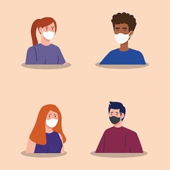 Grupo de pessoas usando máscara facial vector design ilustração