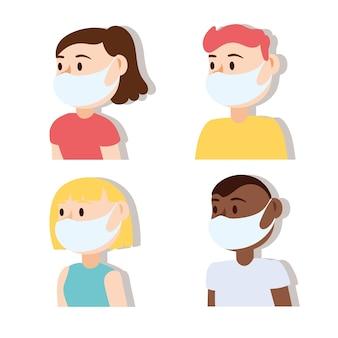 Grupo de pessoas usando máscaras médicas design de ilustração vetorial