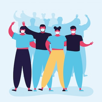 Grupo de pessoas vestindo máscaras médicas caracteres