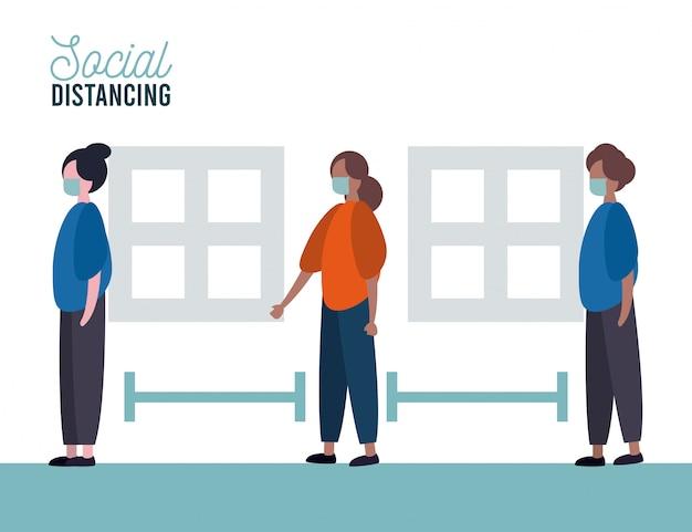 Grupo de pessoas vestindo máscaras médicas praticando distância social