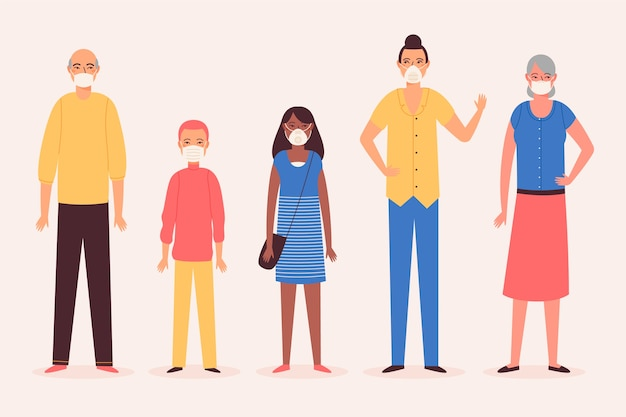 Grupo de pessoas vestindo máscaras médicas