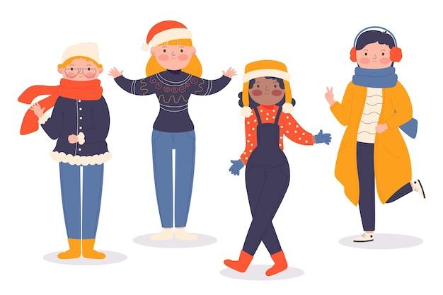Grupo de pessoas vestindo roupas aconchegantes de inverno
