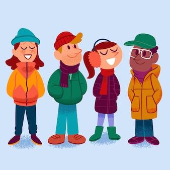 Grupo de pessoas vestindo roupas de inverno