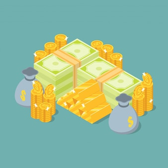 Grupo de pilha de dinheiro, barras de ouro, moedas e moneybag em vista isométrica