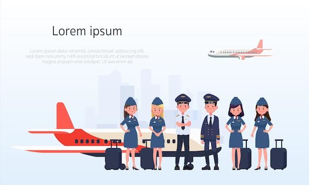 Grupo de pilotos e comissários de bordo, aeromoça.