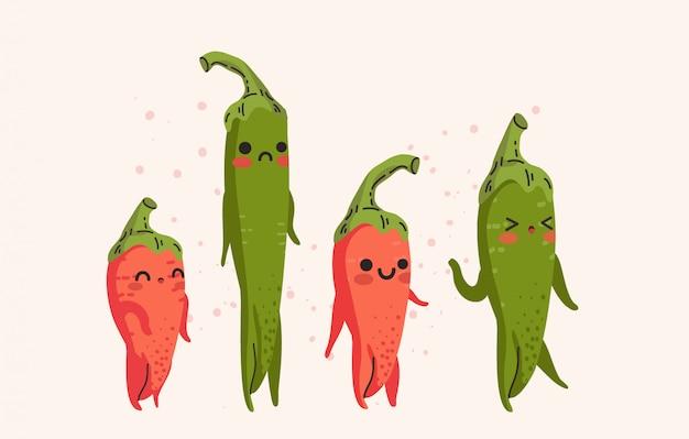 Grupo de pimentões vermelhos bonitos e de ilustração verde dos pimentões.